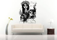 Wall Vinyl Sticker Decals Mural Room Design Pattern Zombie Girls Skeleton Flowers bo635 by RoomDecalsAndDesigns on Etsy