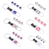 Australian/England/I love NY/Swiss/Norway Flag Design Car Wheel Tire Valve Stem Air Caps Dust Cover With Keychain Car Styling