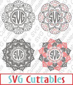 Mandala Monogram Frame SVG, EPS, DXF, Vector, Digital Cut File by SVGCUTTABLES on Etsy