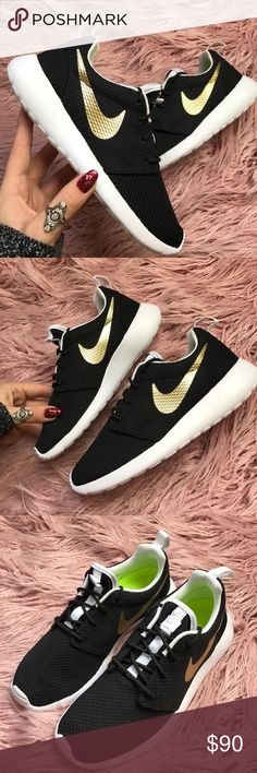 NWT Nike ID Roshe black gold swoosh Size 4.5 Y -Women's size 6 Brand new no box, black with gold custom made Nike roshe,price is firm!!Featuring an ultra-comfortable design and lightweight performance, the Women's Nike Roshe One Casual Shoe is an instant classic. Offered in a wide range of colors and prints, the Roshe has cemented itself as an everyday must-have for   trendsetters, sneaker enthusiasts and everyone in between. Inspired by a Zen master, the Roshe offers you everything you need…