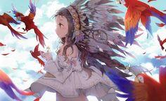 anime, Anime Girls, Original Characters, Animals, Birds, Feathers, Brunette, Tribal, Parrot, Fantasy Art, Macaws HD Wallpaper Desktop Background