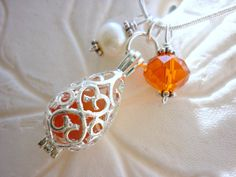Orange Sea Glass Necklace Beach Locket by TheMysticMermaid on Etsy, $22.00