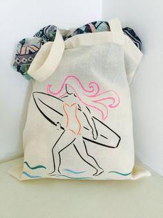 7e02e57db802 Hand printed Surf girl on cotton tote beach bag shopper bag handbag surf  girl by Spellboundbythesea