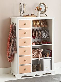 After: Shoe Showpiece -- Showcase accessories by removing the main cabinet door, and installing lower interior shelves. Custom shoe racks contain footwear above. To make them, screw 1/2-inch-diameter dowels into the left side of the cabinet, then affix with L-shape screws on the right side to preserve the outside of the cabinet. Repeat with a square dowel 2-1/2 inches below the round one. Complete the cabinet with a fresh coat of white paint, and highlight the drawer fronts with a soft shade…