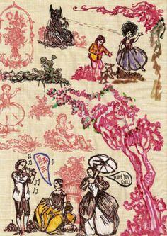Marker on decorative paper