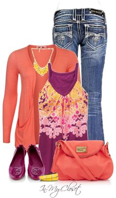 """Purples and Corals"" by in-my-closet on Polyvore"