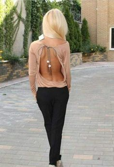 Backless shirt and dress pants. Sewing inspiration