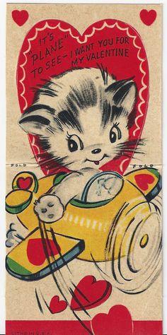 2039 It's Plane to See Kitty Cat Airplane Vintage Die Cut Valentine Card   eBay