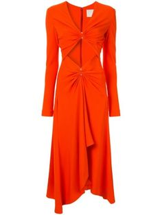 Orange pierced midi dress from Dion Lee featuring a V-neck, long sleeves, a rear zip fastening, two pierced details to the front, a draped detail and a mid-length. Sexy Long Dress, Sexy Dresses, Dress Outfits, Look Boho, Dion Lee, Harvey Nichols, Bergdorf Goodman, The Dress, Mid Length