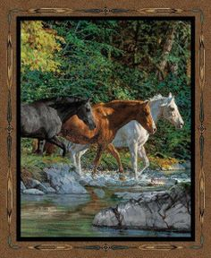 Wild Wings Endless Summer Horse Wall Hanging 100% Cotton Fabric panel  equine #SpringsIndustries