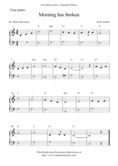 Free Sheet Music Scores: Free piano sheet music notes, Morning Has Broken
