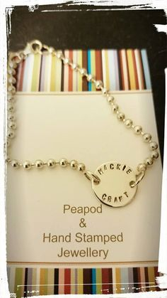Bead Ball Bracelet sterling silver hand stamped personalised by PeapodHSJ on Etsy