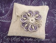 Crochet Applique Pattern for sachet bags.