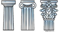 Greek Columns - Doric, Ionic, Corinthian (This is one I learned on the go while touring around Greece - the words go up one syllable for each stage). Mystery of History Volume Lesson 75 Greek History, Ancient History, Art History, Mystery Of History, European History, Ancient Aliens, American History, Ancient Greece For Kids, Ancient Greek Art