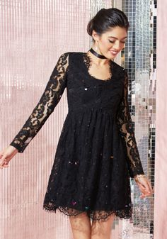 b3e4aff8d836 Chic, Myself, and I Dress in Noir. Though you make a stunning solo · Sheer  Long Sleeve DressLace ...