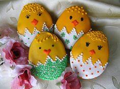 Dolinka / Veľkonočný Ňuňulko Green- 4 ks Holiday Cookies, Royal Icing, Easter Eggs, Green, Handmade, Bohemian, Food, Easter Activities, Hand Made