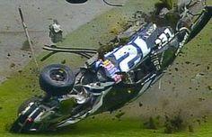 Ryan Newman flipping over in the 2003 Daytona Nascar Crash, Nascar Race Cars, Dirt Racing, Auto Racing, Nascar Wrecks, Jeff Gordon Nascar, Old Hot Rods, Ryan Newman, Daytona 500