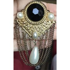 Pretty Vintage Edwardian Style Brass Black Resin Gem Brooch with... ($30) ❤ liked on Polyvore featuring jewelry, brooches, vintage brooches, vintage jewelry, antique jewellery, vintage pearl brooch and pearl jewellery #jewelryantique