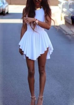White Plain Draped Irregular Round Neck Sleeveless Dress - Mini Dresses - Dresses