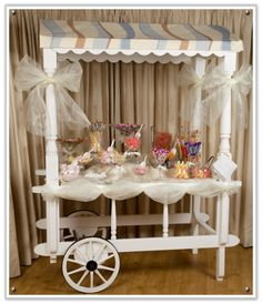 A candy cart for the wedding! How fun is this!? http://1.bp.blogspot.com/-ALuN6SCwFC8/TkFPfXF33eI/AAAAAAAAAUQ/UYW1OPkjv2A/s1600/vintage_wedding_candy_sweet_sweetie_cart.jpg