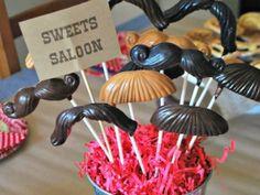 Chocolate Mustache Lollipops - Wild West Party