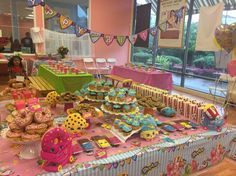 shopkins dessert table Birthday Party Design, 5th Birthday Party Ideas, Birthday Bash, Birthday Party Decorations, Girl Birthday, Shopkins 5th Birthday, Fete Shopkins, Party Fiesta, Party Items