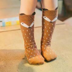 d1fe33c51 Cute fox bear panda animal baby knee high long cotton socks