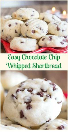 Time Melt in Your Mouth Easy Chocolate Chip Whipped Shortbread, the be. - Cookies -Christmas Time Melt in Your Mouth Easy Chocolate Chip Whipped Shortbread, the be. Big Cookie Recipe, Cake Mix Cookie Recipes, Holiday Cookie Recipes, Best Cookie Recipes, Holiday Cookies, Cookie Cups, Easy Recipes, Baking Recipes, Chocolate Chip Cookies