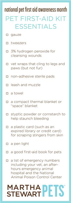 Did you know April is National Pet First Aid Awareness Month? Make sure you are prepared for any pet emergency with this printable checklist #MarthaStewartPets.