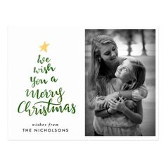 Watercolor Merry Christmas Green Typography Photo Postcard - merry christmas postcards postal family xmas card holidays diy personalize