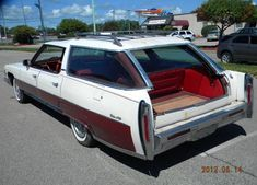 1974 Cadillac Sedan deVille Station Wagon. Tail gate rolls down, and the glass rolls up. Way cool.