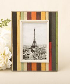 Distressed Wood Look Vertical Striped Picture Frame