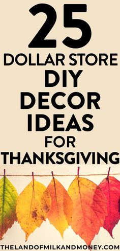 Looking for easy, effective, elegant holiday decor ideas? Try these DIY crafts from Dollar Tree for cheap Thanksgiving home decorations in Cheap Thanksgiving Decorations, Thanksgiving Parties, Thanksgiving Crafts, Thanksgiving Table, Holiday Decorations, Fall Crafts, Diy Crafts, Living At Home, Frugal Living