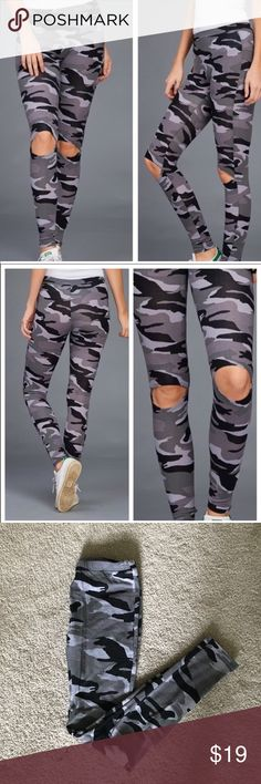 Open Knee Cameo Leggings Open Knee Cameo Leggings Material:  92% Cotton  8% Spandex Inseam: Approx 26in ✔️Offers Welcome✔️ October Love Pants Leggings