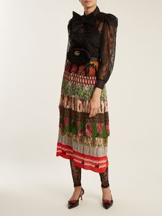Click here to buy Gucci Tiered patchwork-print silk-plissé midi skirt at MATCHESFASHION.COM