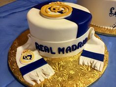 Real Madrid soccer club cake | Gala Bakery - San Lorenzo, CA | www.galabakery.com Real Madrid Cake, Real Madrid Soccer, Sports Themed Cakes, Birthday Cake, Birthday Parties, Unique Cakes, Cakes For Boys, Celebration Cakes, Custom Cakes