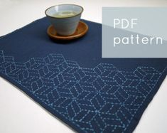 DIY Home Decor Sashiko Embroidery Kit: Nigiyaka por SakePuppets