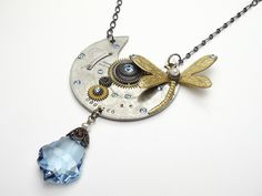 Steampunk necklace antique cogs gears pocket watch plate circa 1890 genuine pearl blue swarovski crystal silver gold dragonfly brass guilloche engraved vintage pendant