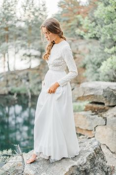 Modest wedding dress with long sleeve lace bodice by CathyTelle on Etsy