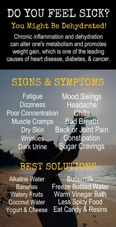 DO YOU FEEL SICK? Signs & Symptoms of Dehydration and Best Solutions. Get healthy and lose weight with our alkaline rich, antioxidant loaded, weight loss products that help you increase energy, detox, cleanse, burn fat and lose weight more efficiently without changing your diet, increasing your exercise, or altering your lifestyle. LEARN MORE #Antioxidants #Alkaline #Detox #Cleanse #FatBurning #WeightLoss #MetabolismBoosting