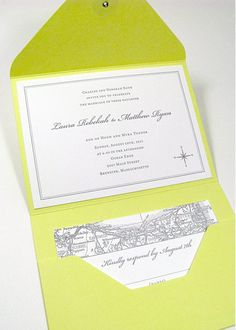 Map pocketfold invitations - Digby & Rose