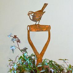 Sparrow Shovel. Capturing not only the essence of birds, these wonderful rustic metal silhouettes reflect personality as well as species specific traits that brings a smile and oohs and aahs to ones day. Adding to their sweetness is the fact that one can bend out their wings and add even more character that captures the likeness of our feathered friends. $29.91
