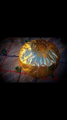 Gold Moroccan Pouf Ottoman by AtlasSecrets on Etsy