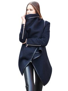 Patch PU Asymmetric Style Long Woolen Blends Coat