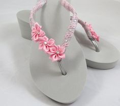 Wedge Flip Flops Embellished by EricaMayMade, $40.00
