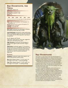 Dungeons And Dragons Classes, Dungeons And Dragons Homebrew, Forest Creatures, Fantasy Creatures, Skyrim, Dnd Stats, Dungeon Master's Guide, World Mythology, Dnd 5e Homebrew