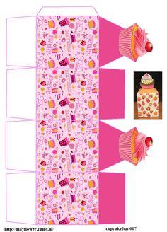 Diy Gift Box, Diy Box, American Girl Bakery, Cupcake Packaging, 3d Templates, Diy And Crafts, Paper Crafts, Printable Box, Church Crafts