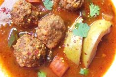 Albóndigas en Caldillo de Jitomate y Guajillo (Meatballs in a Tomato Chile Broth)