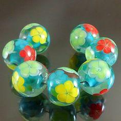 PIKALDA=handmade lampwork 7 glass beads blossom flower colorful=TO THE SKY=SRA