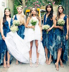 bridesmaids in indigo dresses (love the bride's shoes!)